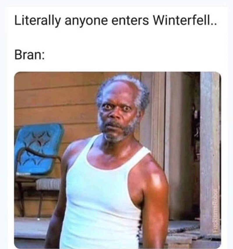 random meme with Game of Thrones and Samuel L. Jackson and Bran staring at everyone