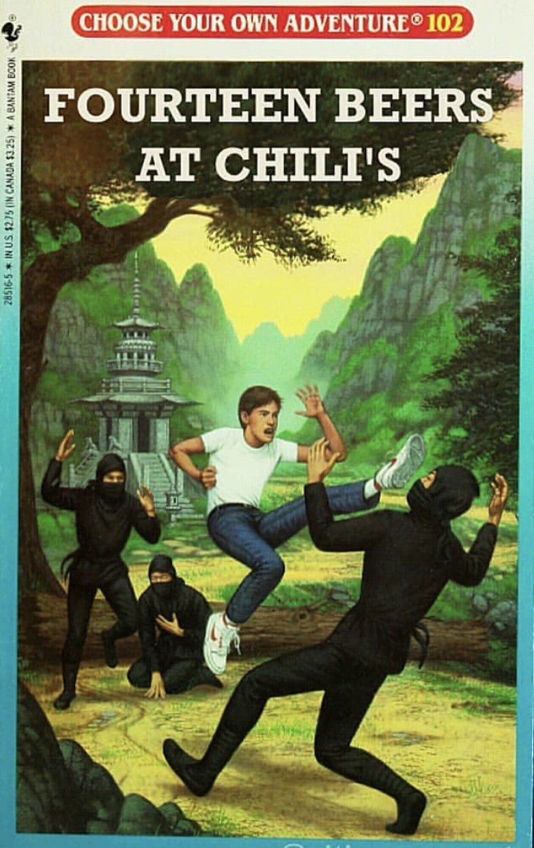 random meme with Children's book cover parodies and fourteen beers at chili's