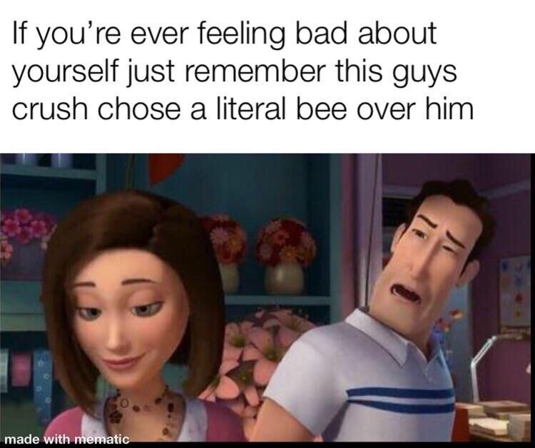 random meme about the bee movie and how she choose a bee over a man