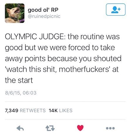 random meme about the Olympics taking away points because of profanities