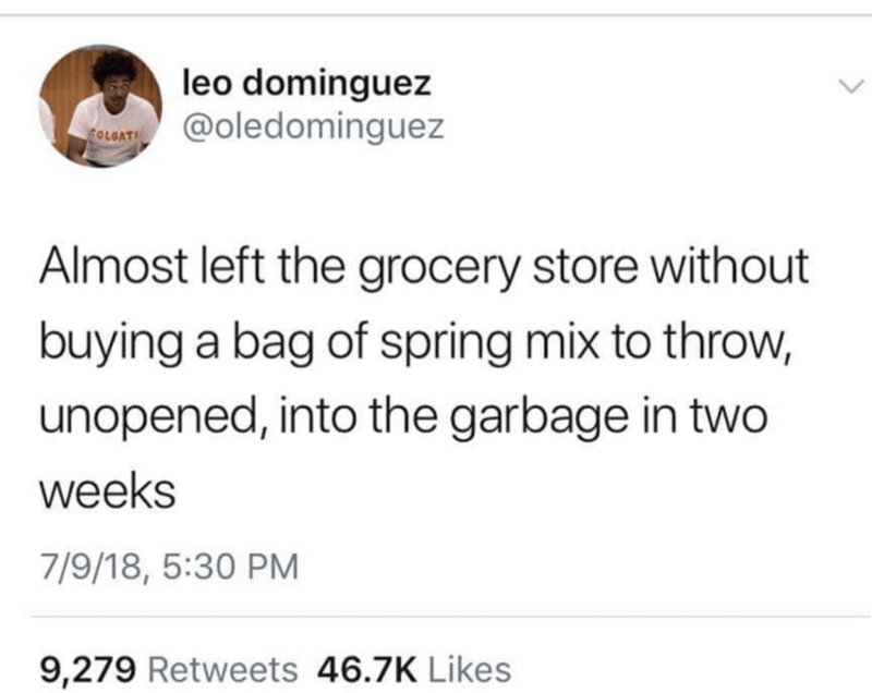 random meme about forgetting to buy spring mix even though you won't use it