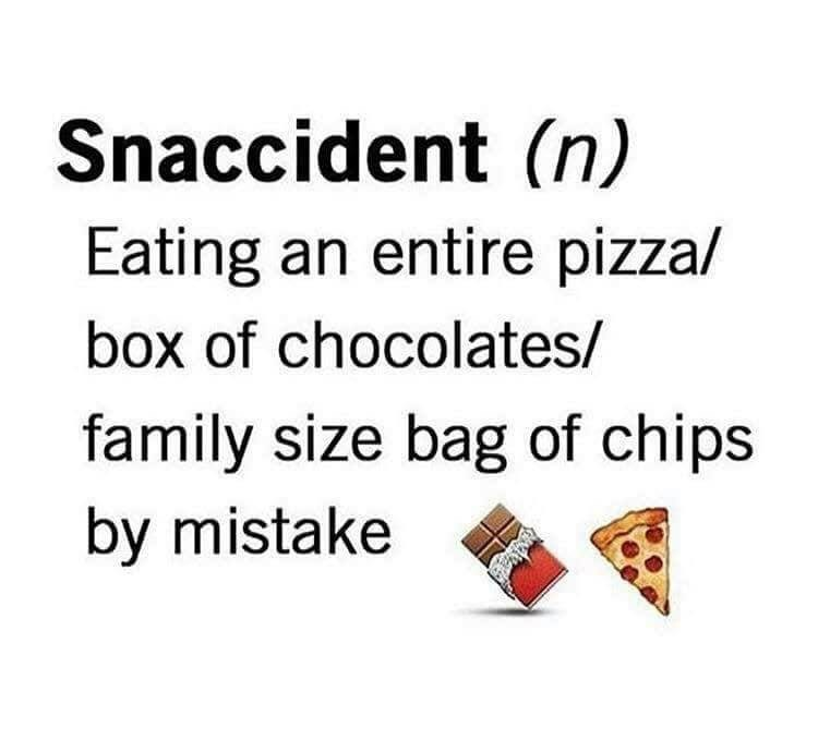 random meme about Snaccident which means eating too much by mistake
