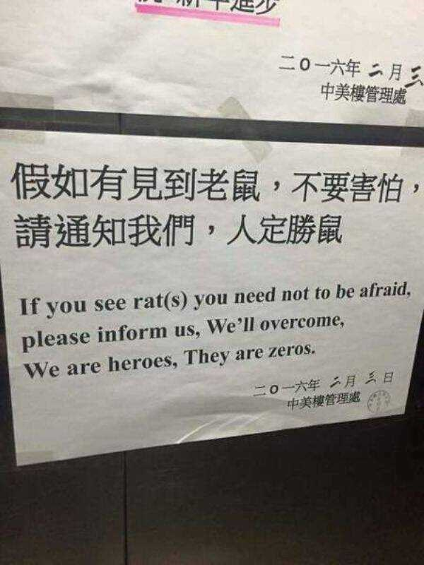 """Translated sign from Chinese that reads, """"If you see rat(s) you need not to be afraid, please inform us, we'll overcome, we are heroes, they are zeros"""""""