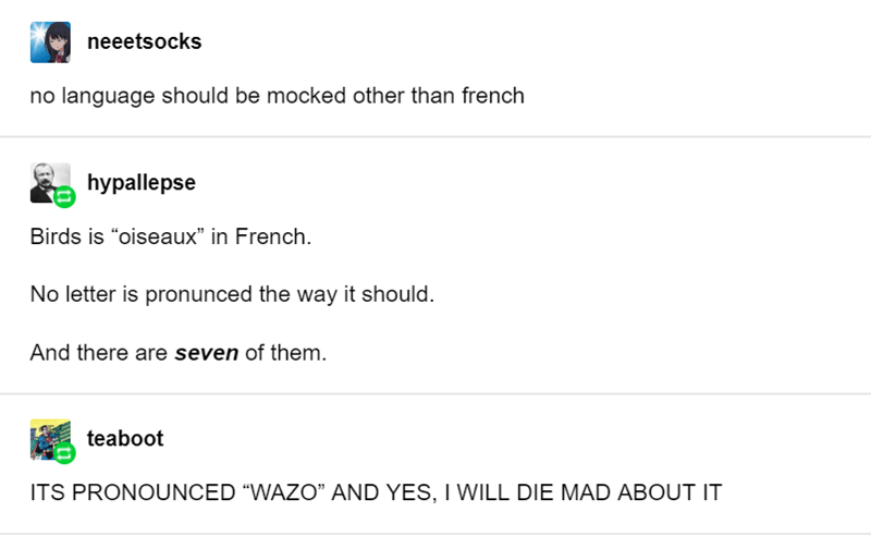 """Text - neeetsocks no language should be mocked other than french hypallepse Birds is """"oiseaux"""" in French No letter is pronunced the way it should. And there are seven of them. teaboot ITS PRONOUNCED """"WAZO"""" AND YES,I WILL DIE MAD ABOUT IT"""