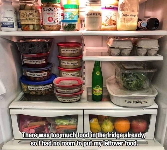 Refrigerator - LAND NuttZo r lic GARDEN PICKLES Paleo Maue OmegAvail Ultra Mae So cun o PpoCi ver Pte C enMuneew Role Caaserele There was too much food in the fridge already, solhad no roomto put my leftover food.