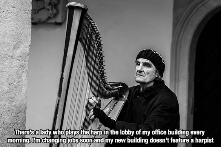 Harp - There's a lady who plays the harp in the lobby of my office building every morning,m changing jobssoon and my new building doesn't feature a harpist
