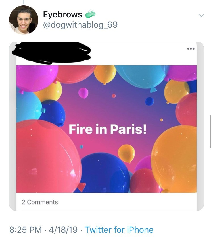 old people facebook - Text - Eyebrows @dogwithablog_69 Fire in Paris! 2 Comments 8:25 PM 4/18/19 Twitter for iPhone