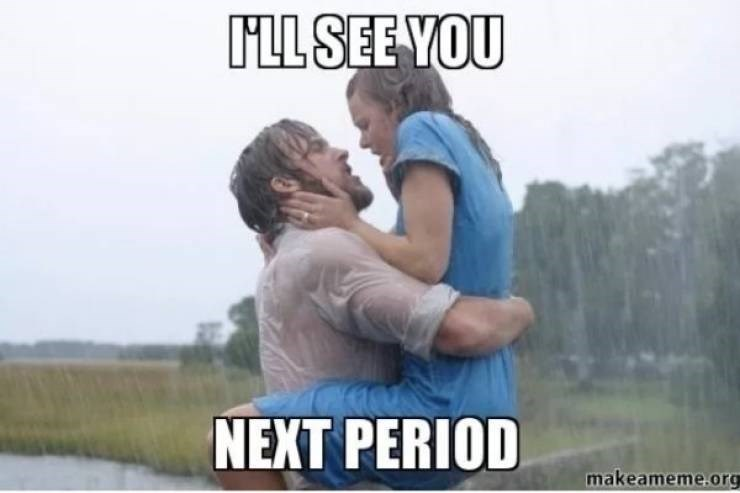 """Still of Rachel McAdams and Ryan Gosling in The Notebook with caption that reads, """"I'll see you next period"""""""