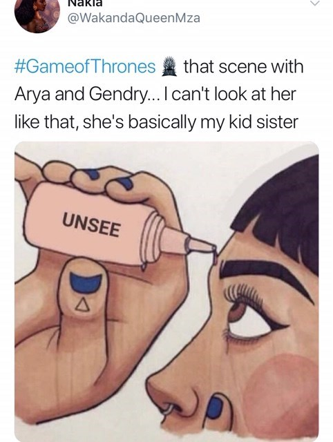 game of thrones, gendry, arya, age, sex, forgesex, unsee.