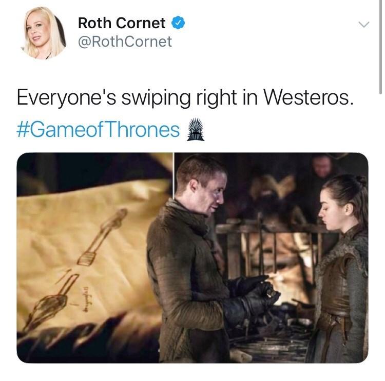 westeros, tinder, arya, gendry.