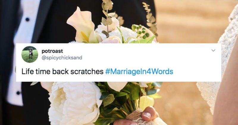 Twitter users sum up marriage in four words.