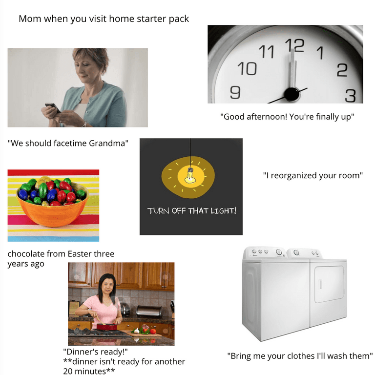 "Starter pack meme titled, ""Mom when you visit home starter pack"""