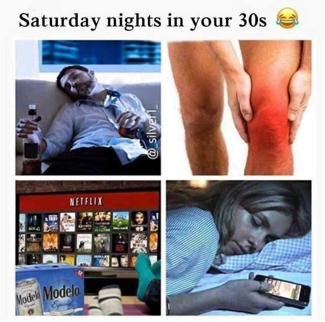 starter pack for people in their 30s on a Saturday night