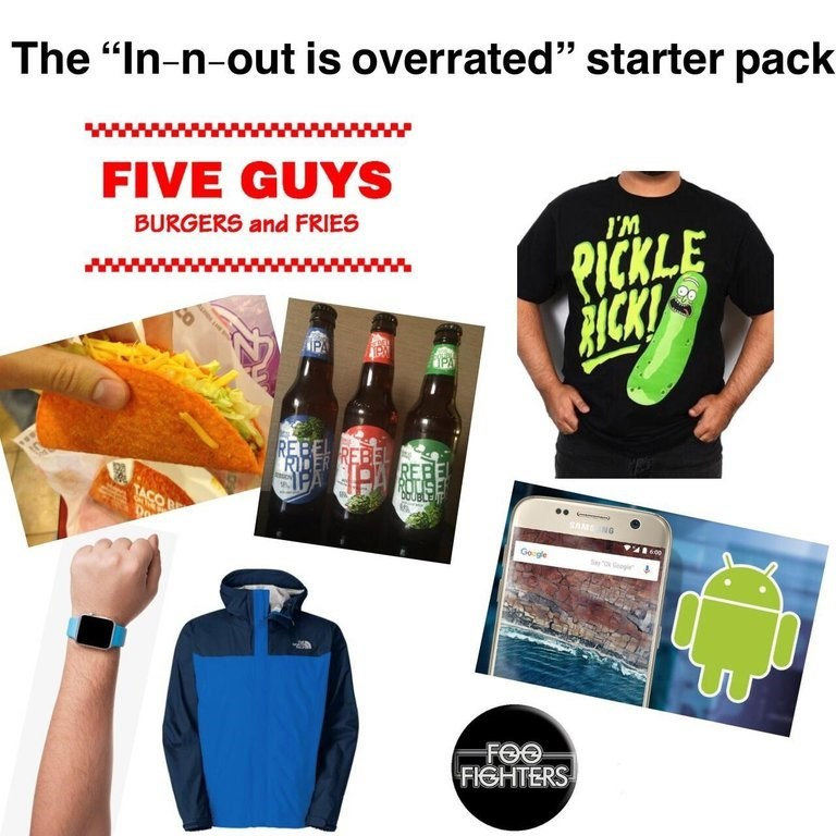 """Starter pack meme titled, """"The 'In-n-Out is overrated' starter pack"""""""