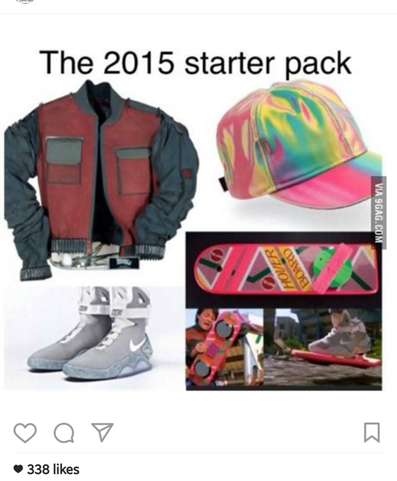 """Starter pack meme titled, """"The 2015 starter pack"""" with images of Marty McFly's outfit from the second Back to the Future movie"""