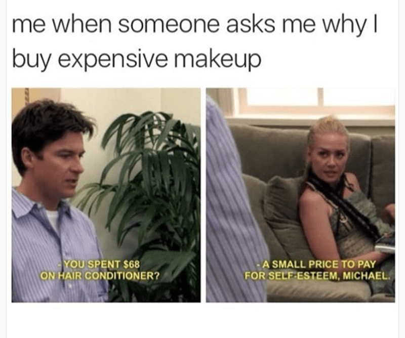 Text - me when someone asks me why I buy expensive makeup YOU SPENT $68 ON HAIR CONDITIONER? A SMALL PRICE TO PAY FOR SELF-ESTEEM, MICHAEL