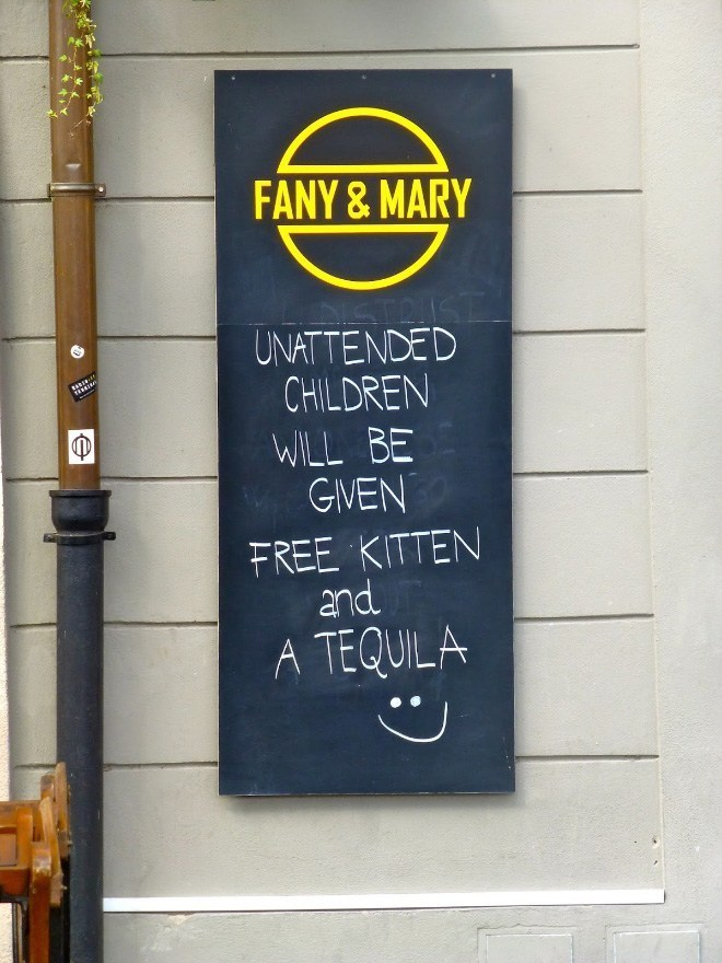 Text - FANY&MARY UNATTENDED CHILDREN WILL BE GIVEN FREE KITTEN and A TEQUILA