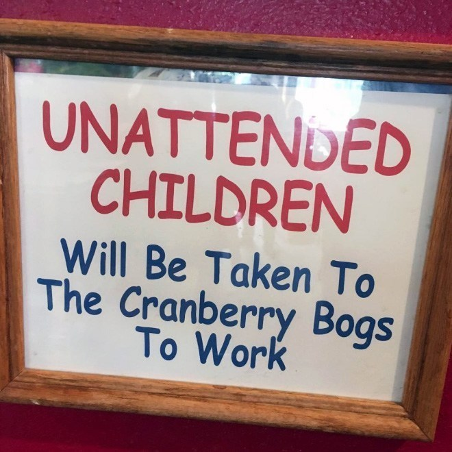 Font - UNATTENDED CHILDREN Will Be Taken To The Cranberry Bogs To Work
