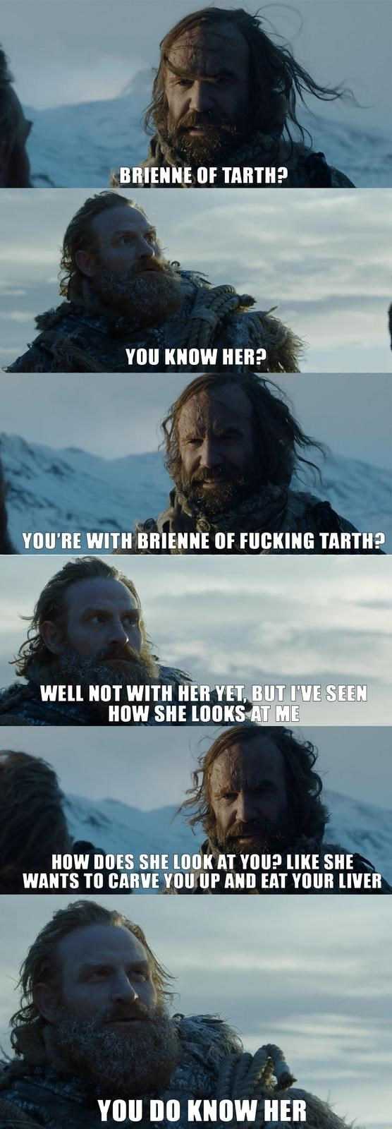 Text - BRIENNE OF TARTH? YOU KNOW HER? YOU'RE WITH BRIENNE OF FUCKING TARTH? WELL NOT WITH HER YET, BUT I'VE SEEN HOW SHE LOOKS AT ME HOW DOES SHE LOOK AT YOUP LIKE SHE WANTS TO CARVE YOU UP AND EAT YOUR LIVER YOU DO KNOW HER