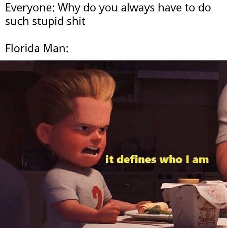 Text - Everyone: Why do you always have to do such stupid shit Florida Man: it defines who I am