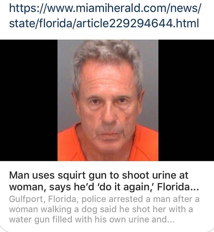 Face - https://www.miamiherald.com/news/ state/florida/article229294644.html Man uses squirt gun to shoot urine at woman, says he'd 'do it again,' Florida... Gulfport, Florida, police arrested a man after woman walking a dog said he shot her with a water gun filled with his own urine and...