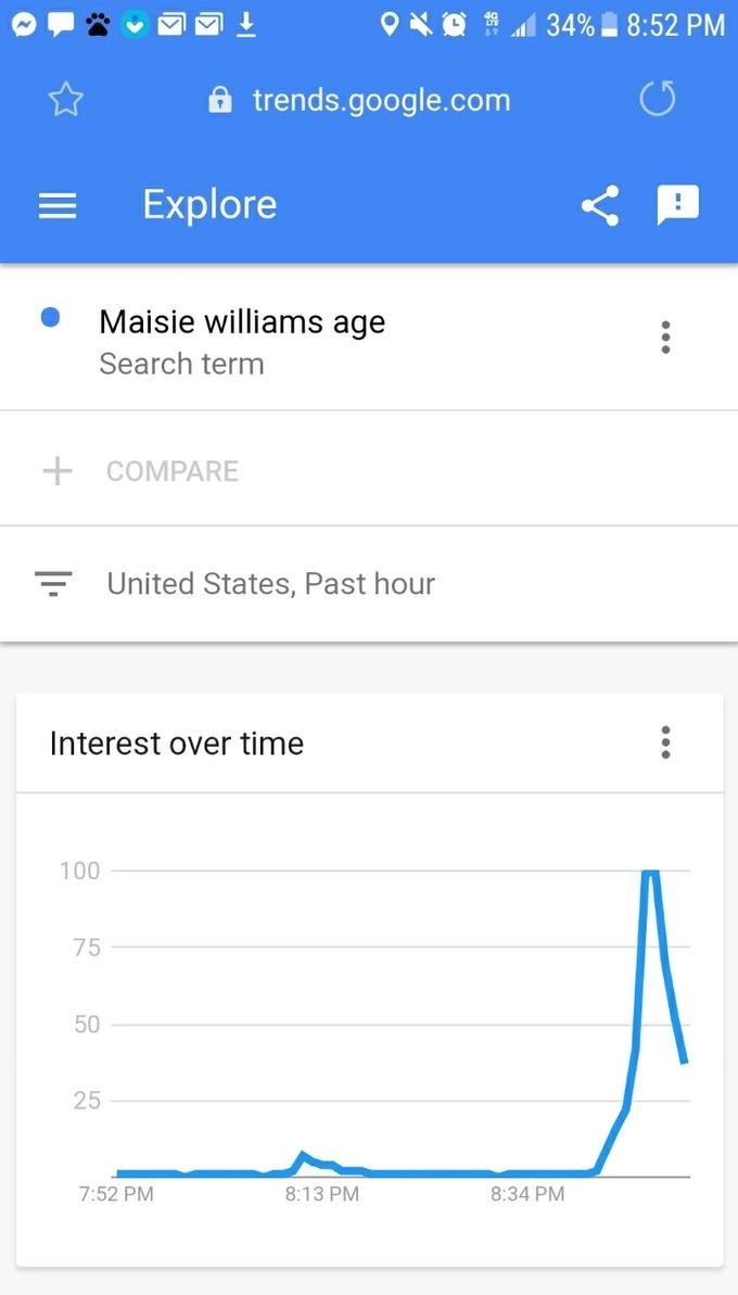 game of thrones season 8 episode 2: google search maisie williams age