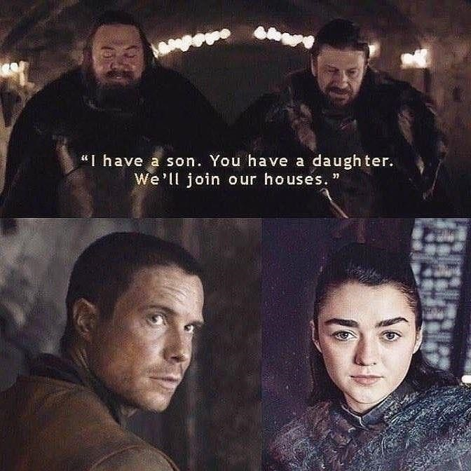 game of thrones season 8 episode 2: Forgesex meme where Robert Baratheon and Ned Stark talk about joining their houses, arya stark, gendry.