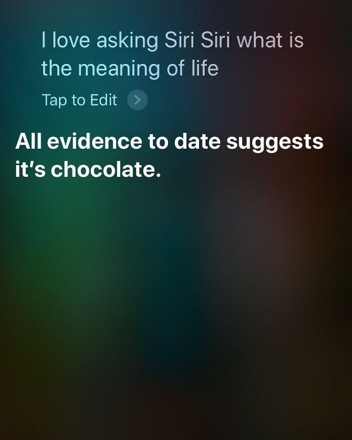 Text - I love asking Siri Siri what is the meaning of life Tap to Edit All evidence to date suggests it's chocolate.