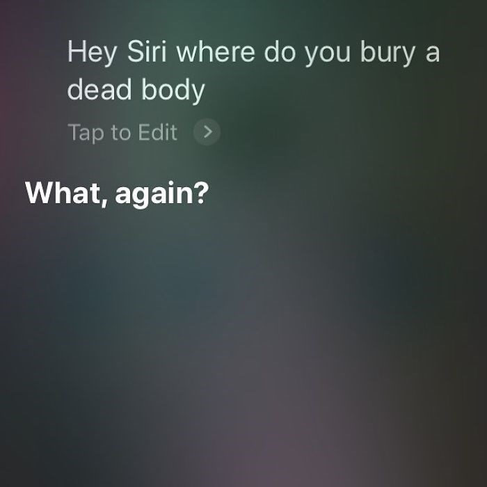 Text - Hey Siri where do you bury a dead body Tap to Edit> What, again?