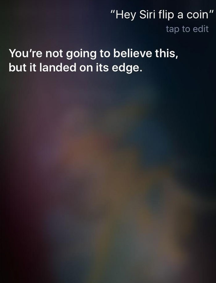 "Text - ""Hey Siri flip a coin"" tap to edit You're not going to believe this, but it landed on its edge."