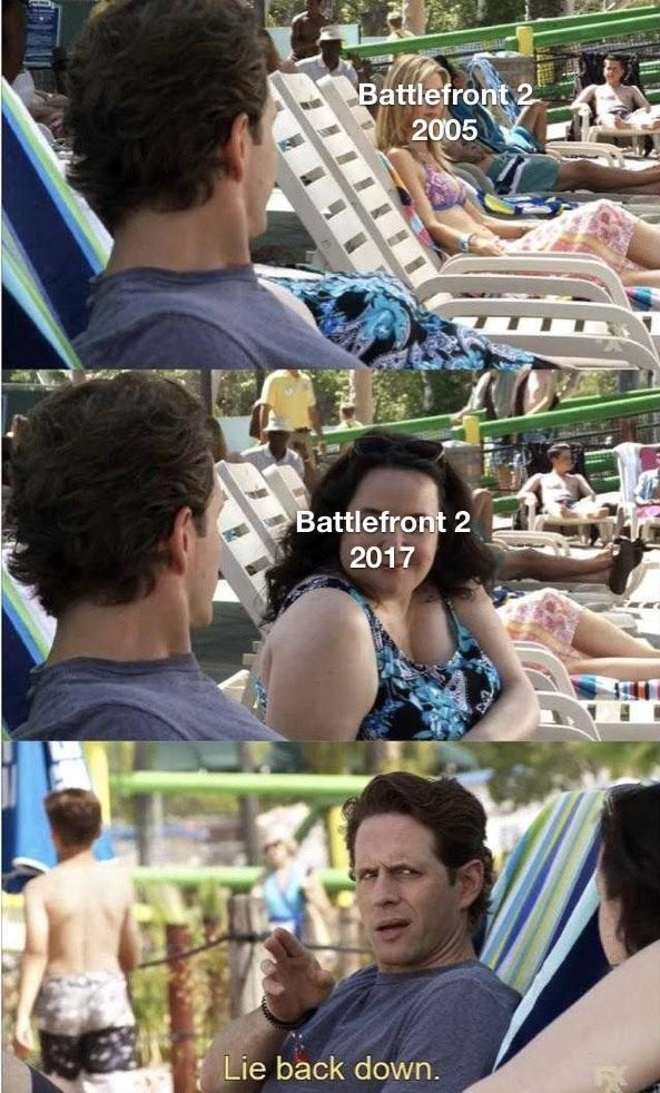 "Panel images from 'It's Always Sunny' where Dennis is looking at an attractive woman, who represents ""Battlefront 2 2005;"" a less attractive woman in the middle image represents ""Battlefront 2 2017,"" and in the last image Dennis says, ""Lie back down"""