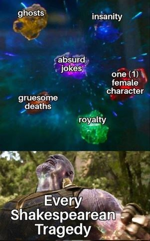 Shakespeare meme - Font - ghosts insanity absurd jokes one (1) female character gruesome deaths royalty Every Shakespearean Tragedy