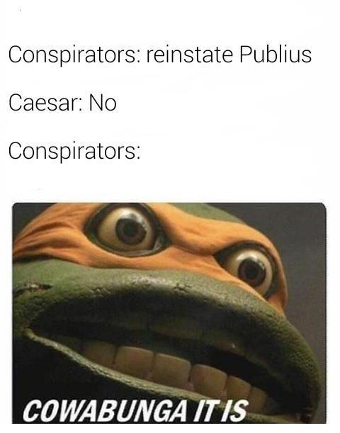 Shakespeare meme - Text - Conspirators: reinstate Publius Caesar: No Conspirators: COWABUNGA IT IS