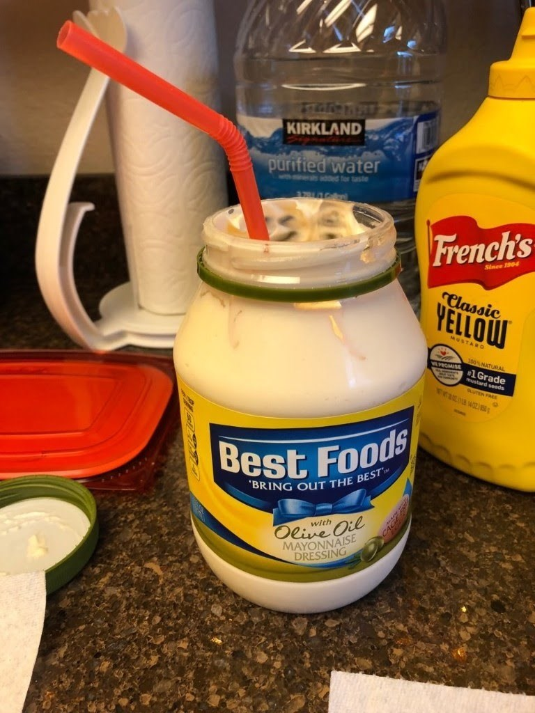 cursed_image - Mayonnaise - KIRKLAND purified water d for taste French's Since 1904 Classic YELLOW MUSTARD 100% NATURAL #1Grade mustard ds GUTEN FR wwa.13 4021 Best Foods BRING OUT THE BEST Oeive Oil MAYONNAISE DRESSING with ..