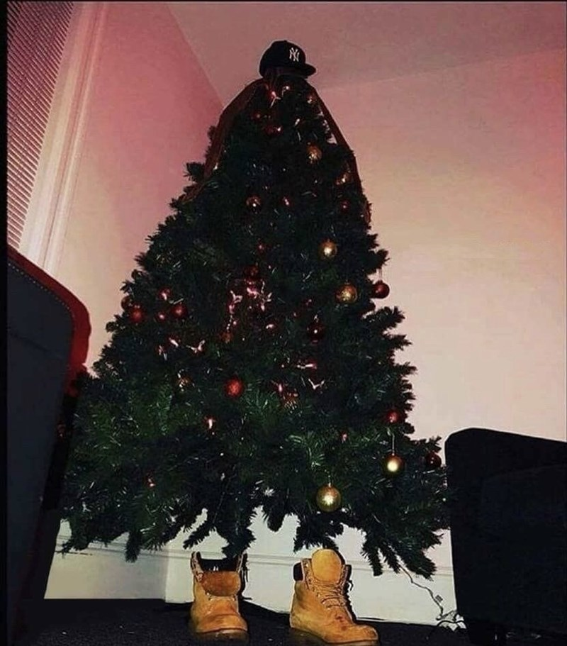 cursed_image - Christmas tree with boots and cap