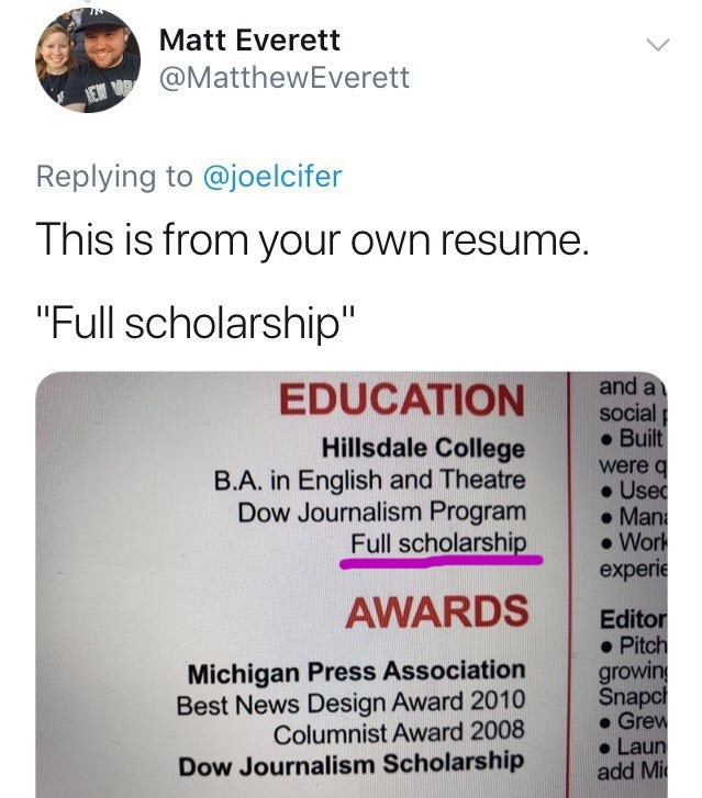 """Tweet that reads, """"This is from your own resume. 'Full scholarship'"""" above a photo of original poster's resume that says """"full scholarship"""" on it"""