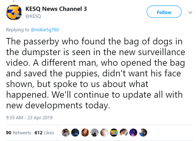 Text - KESQ News Channel 3 ab@KESQ Follow Replying to @mikie5g760 The passerby who found the bag of dogs in the dumpster is seen in the new surveillance video. A different man, who opened the bag and saved the puppies, didn't want his face shown, but spoke to us about what happened. We'll continue to update all with new developments today. 9:35 AM - 23 Apr 2019 90 Retweets 612 Likes >