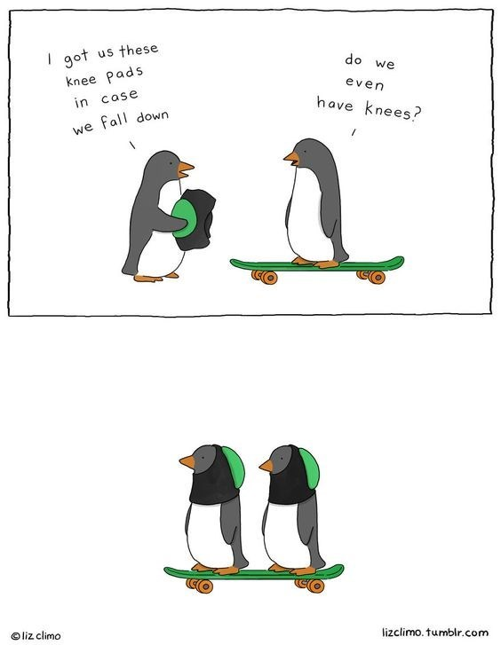 Flightless bird - I got us these do we knee Pads even have knees? in case we fall down lizclimo. tumblr.com Oliz climo
