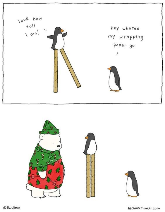 Flightless bird - how ook tall am! hey where'd my wrapping Paper go Oliz climo lizclimo. tumblr.com