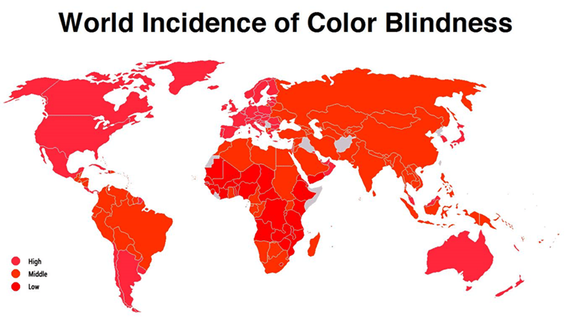"""Funny map titled """"World incidence of color blindness"""" above a world map using colors that would confuse a colorblind person"""