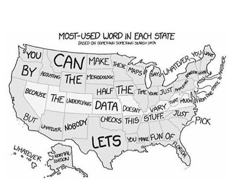 """Funny map titled, """"Most-used word in each state"""" above a map of the United States that has writing indicating that no one actually reads all of the words on a map"""