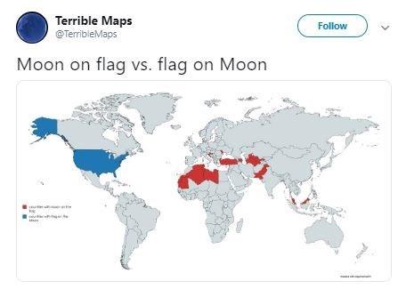 World - Terrible Maps Follow @TerribleMaps Moon on flag vs. flag on Moon M
