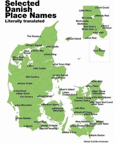 """Funny map titled, """"Selected Danish place names literally translated"""" above a map with silly-sounding Danish cities"""