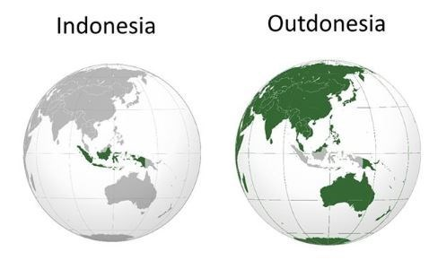 """Funny map of """"Indonesia vs. Outdonesia"""" where Indonesia is colored green in one, and in the other the rest of the world is colored green"""