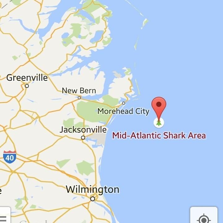 Map - Greenville New Bern Morehead City Jacksonville Mid-Atlantic Shark Area 40 Wilmington