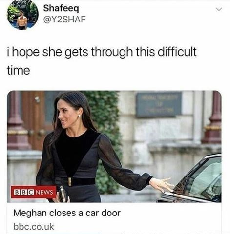 Vehicle door - Shafeeq @Y2SHAF ihope she gets through this difficult time BBC NEWS Meghan closes a car door bbc.co.uk
