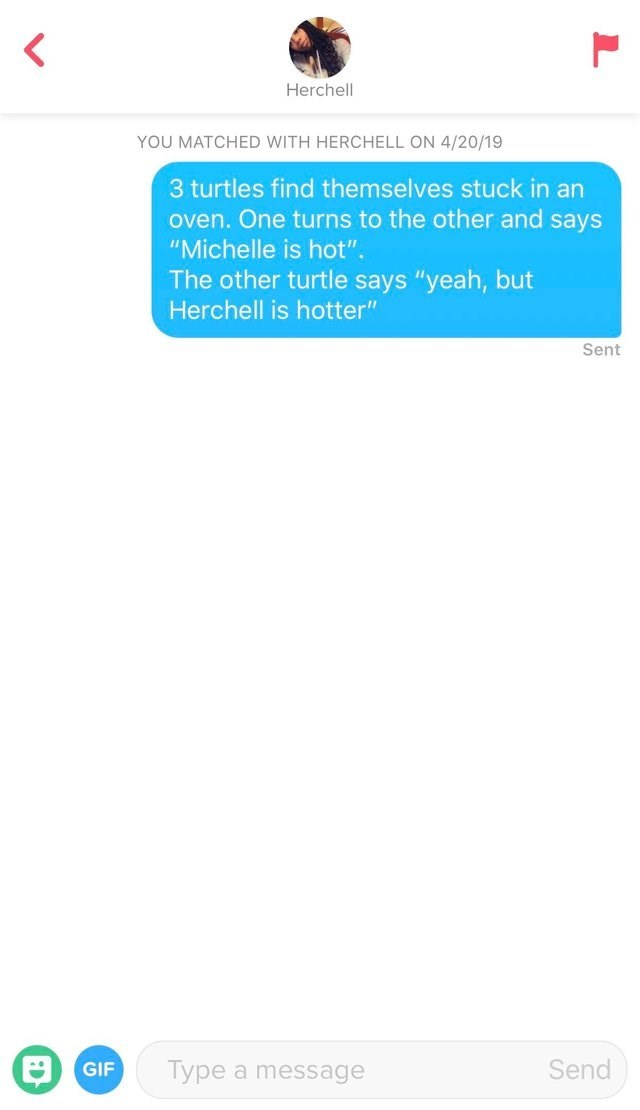 """Text - < Herchell YOU MATCHED WITH HERCHELL ON 4/20/19 3 turtles find themselves stuck in an oven. One turns to the other and says """"Michelle is hot"""". The other turtle says """"yeah, but Herchell is hotte"""" Sent Send Туре GIF a message"""