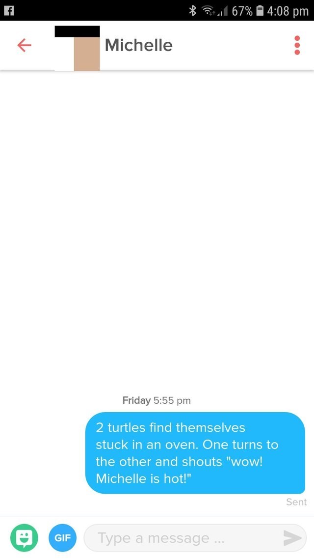 """Text - 4:08 pm 67% Michelle Friday 5:55 pm 2 turtles find themselves stuck in an oven. One turns to the other and shouts """"wow! Michelle is hot!"""" Sent Type a message.. GIF"""
