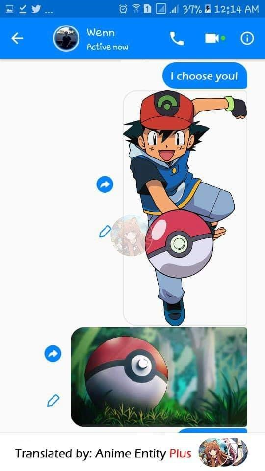 """First guy texts his friend an image of Ash Ketchum saying, """"I choose you!"""" and an image of a Poke ball"""