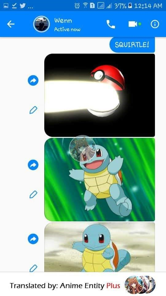 First guy texts his friend an image of the Poke ball opening and Squirtle emerging from it